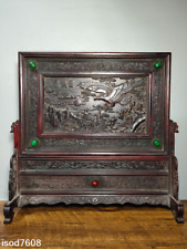 China Collection red Acid branch wood carving Inlay gemstone screen