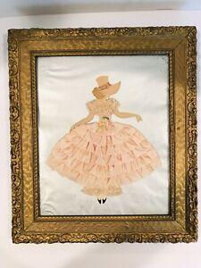 Vintage Framed Folk Art Ladies Collage Satin Ribbon Lace Paper 15x13