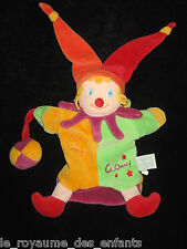 Doudou et Compagnie Marionnette hochet Grelot Clown Clowny jaune vert rouge