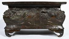 Old Asian Cast Metal Footed Rectangular Bird Motif Bonsai Pot or Brazier signed