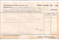 1924 TREASURER'S OFFICE First Ward Ypsilanti MICHIGAN Mabel I. Stadtmiller
