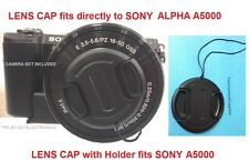 FRONT SNAP-ON LENS CAP DIRECTLY to CAMERA SONY ALPHA A5000 +HOLDER, ALFA A 5000