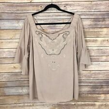 City Chic S Womens 16 Off The Shoulder Bell Sleeve Blouse Embroidered Flowy Top