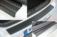 SET für VW T CROSS Einstiegsleisten Ladekantenschutz 3D Carbon Schwarz