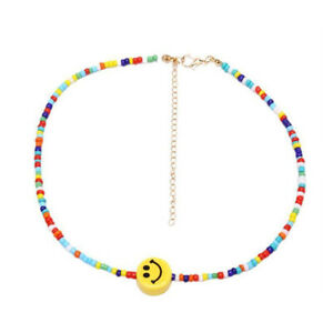 Trendy Boho Rainbow Colorful Beads Smiley Face Choker Hippy Necklace for Women