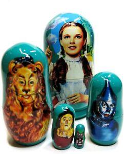 Wizard Of Oz Russian Nesting Doll 5-Piece Babushka Stacking Set - 4 inches tall