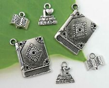 Set of 6 I LOVE TO READ Book Charms, Antique Silver Charm Collection, 3 Styles
