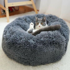 Calming Pet Round New Soft Gray Plush Comfortable Dog Sleeping Warm Kennel Bed
