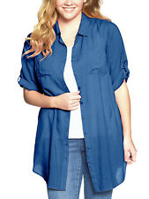 Woman Within ANTIQUE BLUE Roll Sleeve Pocket Utility Tunic Sizes Medium to 5x