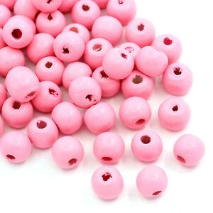 20 perles en bois 10mm couleur Rose 10 mm creation colier, attache tetine