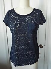 Hollister Babydoll Lace Top Navy Blue Small NWT