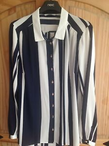 GEORGE NAVY & IVORY STRIPE SHIRT STYLE BLOUSE TOP SIZE 14 42