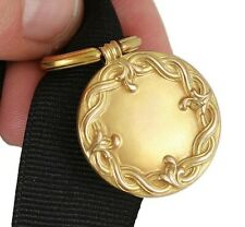 Lovely Art Nouveau 10k Yellow Gold Fob Pendant on Ribbon Early 1900s