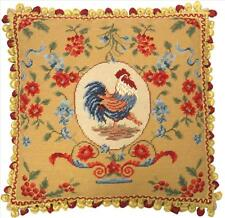 French Country Rooster Needlepoint Pillow w Ball Fringe 20 x 20  FREE SHIP!