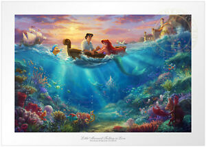 Thomas Kinkade Studios Little Mermaid Falling in Love 12 x 18 S/N LE Paper