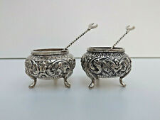 More details for antique pair of indian silver repousse salts & pair of indian coin silver spoons
