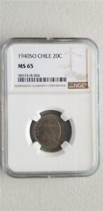 Chile 20 Centavos 1940SO NGC MS 65