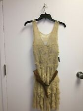 As U Wish Brown Belted Lace Dress **NWT**