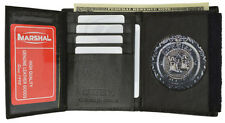 Badge Conceal Holder Wallet Leather ID Credit Card Fire Security Sheriff Round