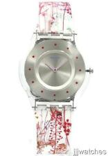 New Swiss Swatch Jardin Fleuri Silicone Women Skin Watch 35mm SFE102 $110