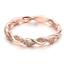 Women Fashion Solid Silver / Rose Gold Stack Twisted Ring Wedding Party Jewelry