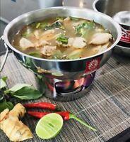 Hot Pot Stainless Steel Thai Cookware Tom Yum Soup Shabu Boil Bowl Picnic 16cm