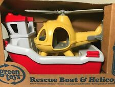 Green Toys Rescue Boat & Helicopter Bath Water Toy with Mini Figures Ages 2-6