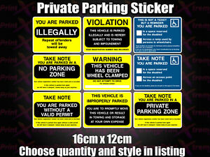 NO Parking Resident Cars will be clamped Disabled Private Sticker MULTI LISTING