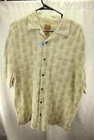 Jos. A. Bank XL Silk Cotton Sage Green Men's Button Front Short Sleeve Shirt