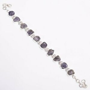 925 Sterling Silver Bracelet, Raw Tanzanite Gemstone Beautiful Jewelry RSBR272