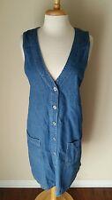 Vintage Studio Women's Blue Sleeveless Denim Jean Jumper Dress Size M