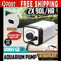 SUNSUN Aqua Aquarium Air Pump Oxygen Fountain Pond Water Fish Tank 2 Outlet AU