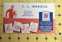 Vintage J. L Murock Lehigh Portland Cement Company Ad Card Bricklayer Chicago