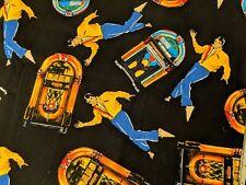 "Elvis Presley Jukebox Shamash & Sons C/93 Fabric BY THE 1/2-YARD 100% Cotton 18"""