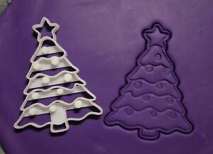 Christmas tree cookie cutter and embosser 2 piece, fondant stamp, 3D printed