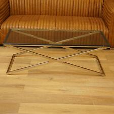 WOHNZIMMERTISCH WOHNEN COUCHTISCH GLAS METALL MODERN ART DECO 130x70cm ELEGANT