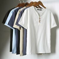 Mens Linen Cotton Blend Short Sleeve T-shirt Henley Neck Style Casual Tops Tee