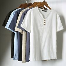 Mens Linen Cotton Blend Short Sleeve T-shirt Henley Neck Style Ethnic Top Tee