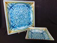 MINT! ROSCHER Majolica LORELEI Glazed Embossed Square Dinner Plate & Bowl SETS