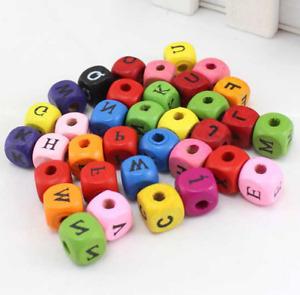 Free 200Pcs Mixed color Mixed Alphabet Cube Wooden Beads DIY Loose bead 10mm