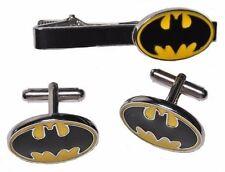 DC Comics BATMAN Logo CUFFLINKS and TIE CLIP Set