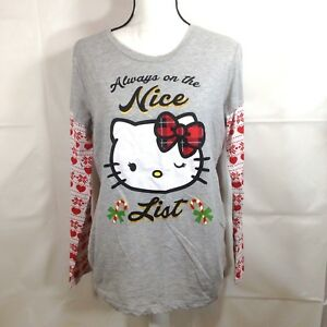 Hello Kitty Womens Shirt Night Henley Grey Junior Long Sleeve Christmas Size XL