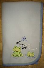 Carters Just One Year Green Frog Blue Baby Blanket Fleece Giggle Laugh Play