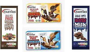 Sugar Free 4 Mixed Flavours Luxury Milk Chocolate, Hazelnut Chocolate, Cookies