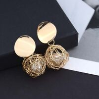 Fashion Charm Women Gold Plated Round Pearl Dangle Drop Earring Stud Jewelry SD