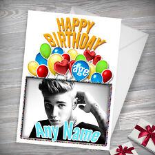 JUSTIN BIEBER - Personalised Birthday Card - Daughter Niece Friend Grandaughter