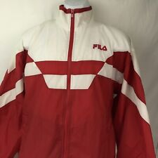 Vintage Fila Red White Color Block Windbreaker Jacket, Sz Medium (s3)