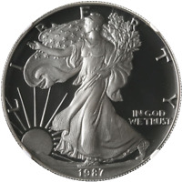 1987-S Proof Silver American Eagle $1 NGC PF70 Ultra Cameo -  STOCK