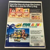 VTG Retro 1985 Meaty Bone Dog Biscuits & Five Alive Tropical Beverage Ad Coupon