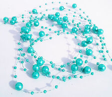 DIY 8mm&3mm Turquoise Green Pearl Bead Garland Wedding Bouquet Decoration 10M